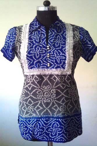 Crepe Silk Bandhani Kurti/Tunic, Gorgeous embellished ribbon neckline, Semi formal wear.