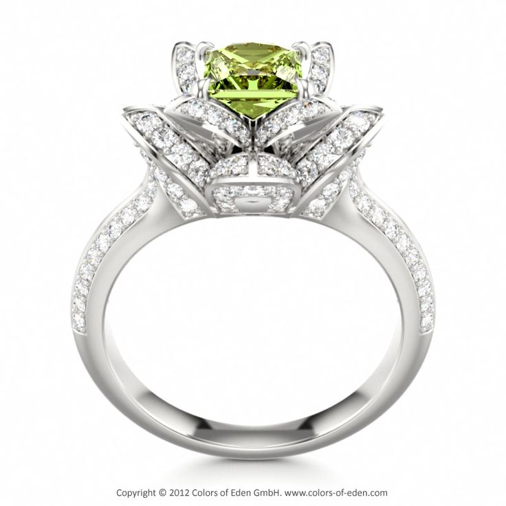 Peridot Engagement Ring LOTUS BLOSSOM ROYAL PRINCESS #peridot #engagement #ring