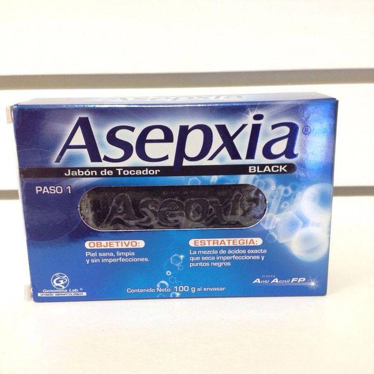 Jabon Asepxia Black, la mezcla de ácidos exacta que seca imperfecciones y puntos negros. Además, la combinación de ingredientes activos acido glicólico, acido salicílico y coffe arabica