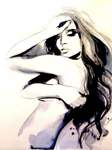 Fashion Illustration impression de peinture Aquarelle - Aquarelle mode - Figure - Portrait - chambre décoration murale art