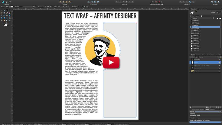 Text Umlauf | Text wrapping – Affinity Designer in a minute [ADIAM]
