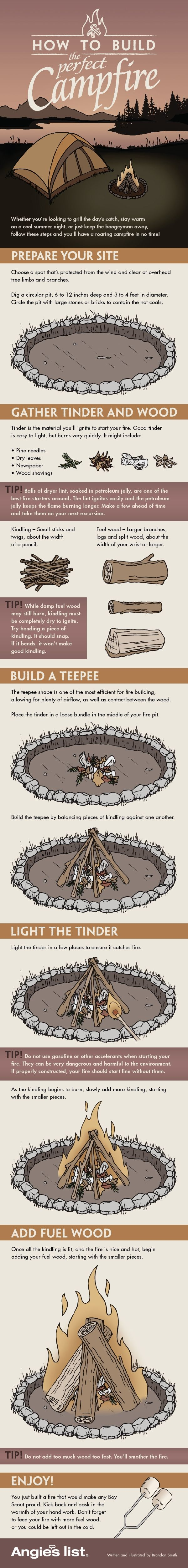 Infographic: How to build the perfect campfire   Angies List