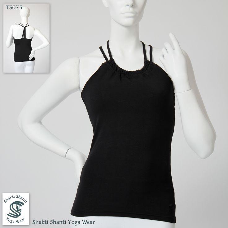 BLACK cotton yoga ananda top TS075