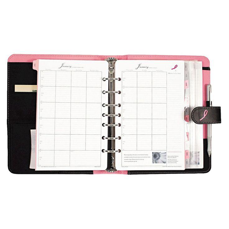 Day-Timer Pink Ribbon Loose-Leaf Organizer Starter Set, 5 1/2 x 8 1/2, Pink/White, Black/Pink