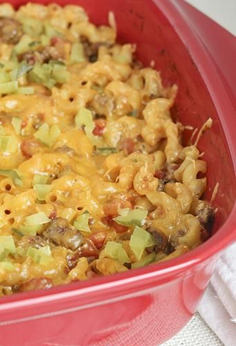 Skinny Cheeseburger Casserole... I made this last night and it was SOOOO good. Even Scott liked it and he doesn't like anything :)
