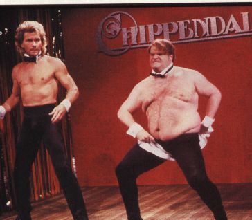 Patrick Swayze and Chris Farley in the Chippendales tryouts.  One of the best SNL skits ever!