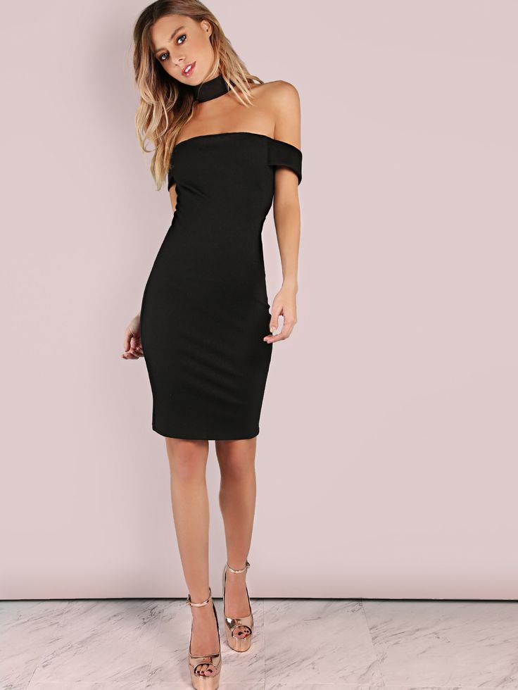 85ba003626 #AdoreWe #SheIn Dresses - SheIn Thick Choker Neck Bardot Mini Bodycon Dress  BLACK -. Backless One Shoulder ...