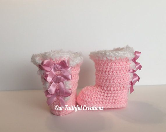 Crochet UGG Inspired Bow Boots Bow Boots by OurFaithfulCreations