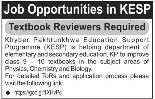 Physics , Chemistry and Biology Jobs Opportunities in KESP .KPK 2017