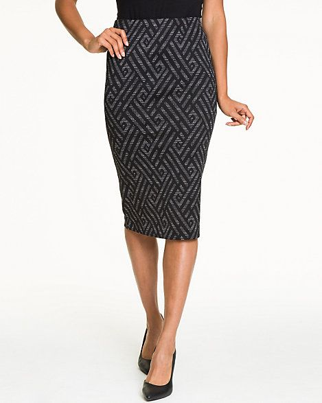 Chevron Print Ponte High Waist Skirt