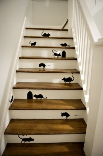 Just what I want. A paint job that will keep me from seeing if I have ACTUAL vermin infesting my house. Genius.: Mice, Ideas, Stairs Risers, Painting Stairs, The Farms, Martha Stewart, Stairs Design, Staircas, Halloween