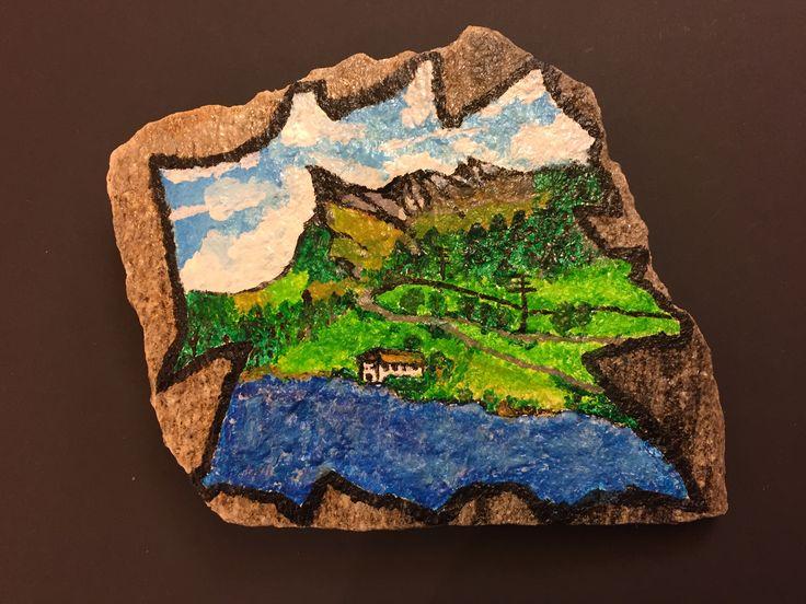 Pizzo Uccello, San Bernardino, Svizzera Pioda di granito dipinta a mano, cm. 17x17, peso kg. 1.329, pittura acrilica laccata contro l'acqua. Prezzo chf. 45.00