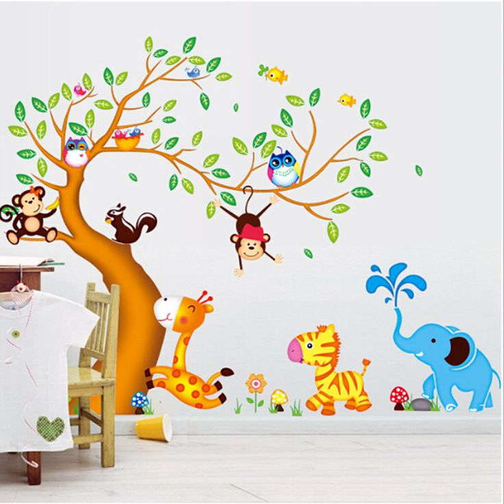 Gyerekszoba falmatricák fiúknak : Zöld levelű fa zsiráffal, zebrával, majmokkal, baglyokkal #elefánt #zebra #zsiráf #majom #mókus #gyerekszobafalmatrica #falmatrica #gyerekszobadekoráció #gyerekszoba #matrica #faldekoráció #dekoráció