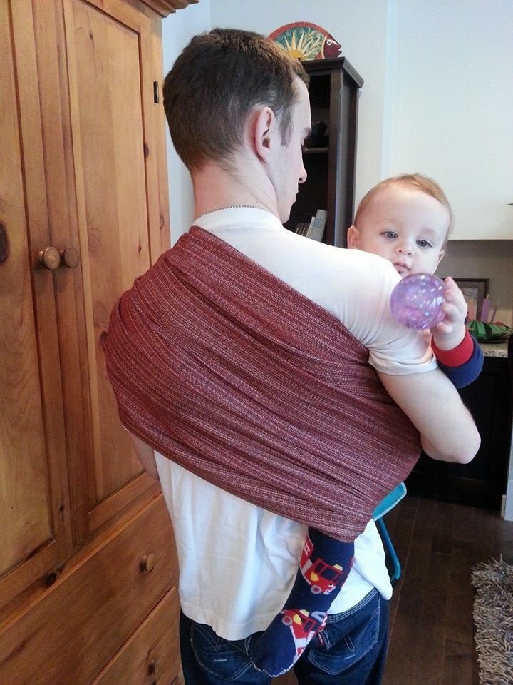 Woven linen cotton ring sling, brick red, 1.5 times the weight, perfect for toddlers, SALE by UchiWraps on Etsy