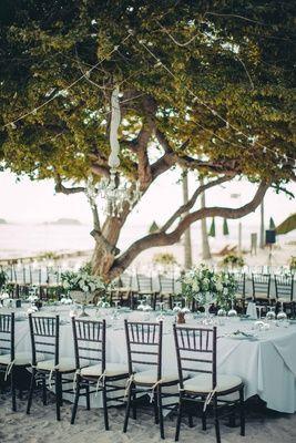 Long Tables, Chandeliers, Beach Reception    Photography: Tom Moks Photography   Read More:  http://www.insideweddings.com/weddings/elegant-simple-destination-wedding-on-the-beach-in-mexico/864/
