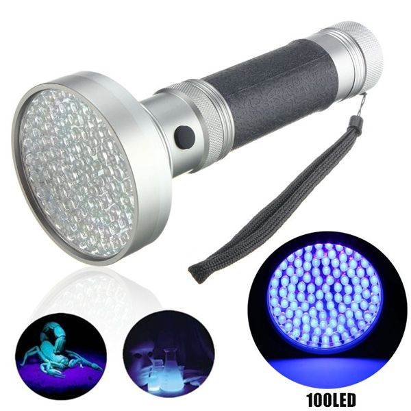 100xLED UV Blacklight Scorpion Detector Ultra Violet LED Flashlight AA