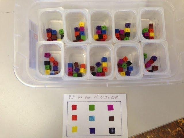Packaging colored blocks work task.