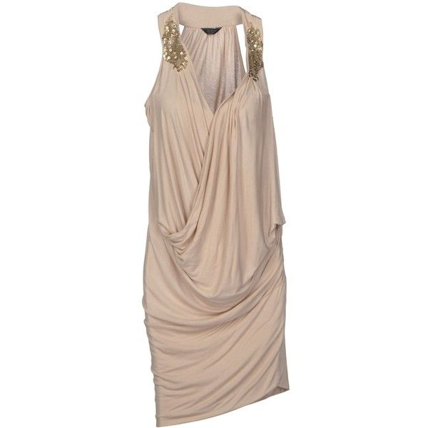Guess Knee-Length Dress (21.215 HUF) ❤ liked on Polyvore featuring dresses, beige, beige sequin dress, guess dresses, knee length dresses, sleeveless knee length dress and sleeveless jersey dress