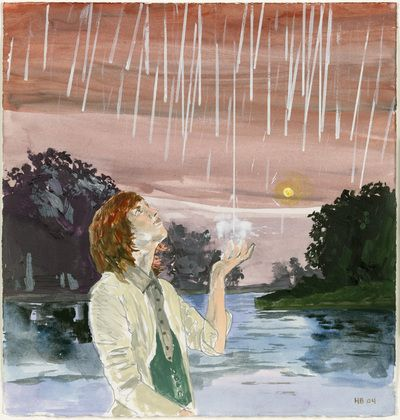 """The Start of the Rain Hernan Bas (American, born 1978) 2004. Gouache, oil, watercolor, and pencil on paper, 13 3/4 x 13"""" (34.9 cm, 33 sec.). The Judith Rothschild Foundation Contemporary Drawings Collection Gift. © 2013 Hernan Bas"""