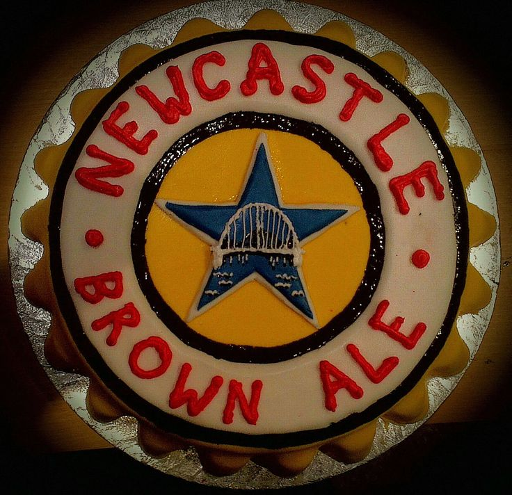 Newcastle brown ale bottle cap birthday cake