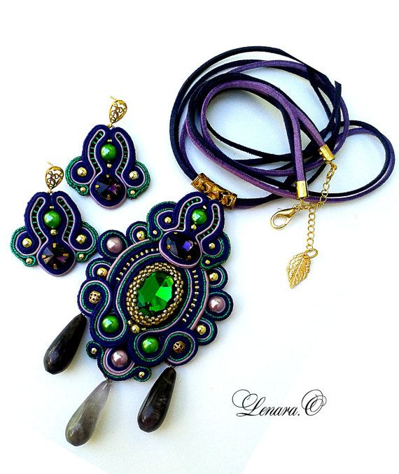 Soutache pendant with amethysts, Soutache set,dark blue, green, violet color. Long band.For wearing under the collar. Long cord.