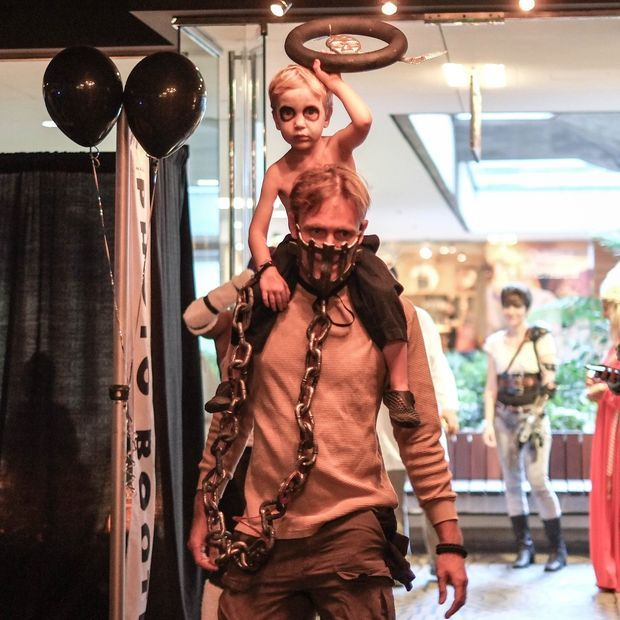 Picture of Mad Max and War Boy Nux father son costume