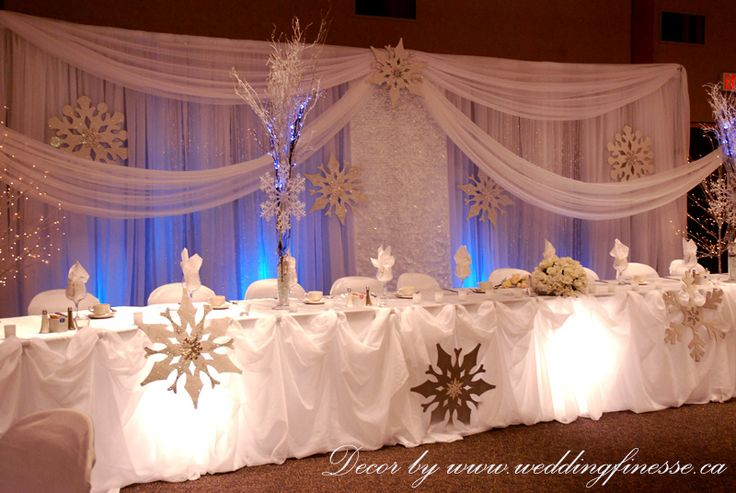 Winter wedding head table decor.