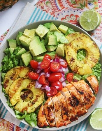 Salade poulet avocat tomate échalote ananas citron