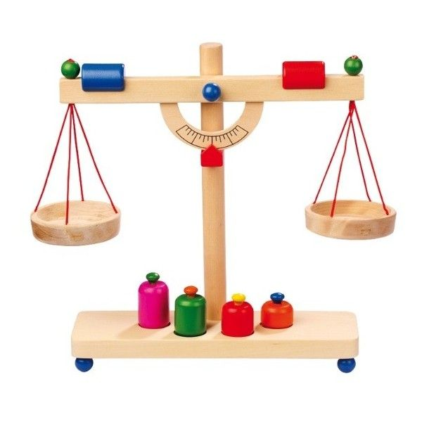 Solid Wooden Toy Scales With 4 Brightly Painted Weights Is A Must Have For Little Shopkeepers