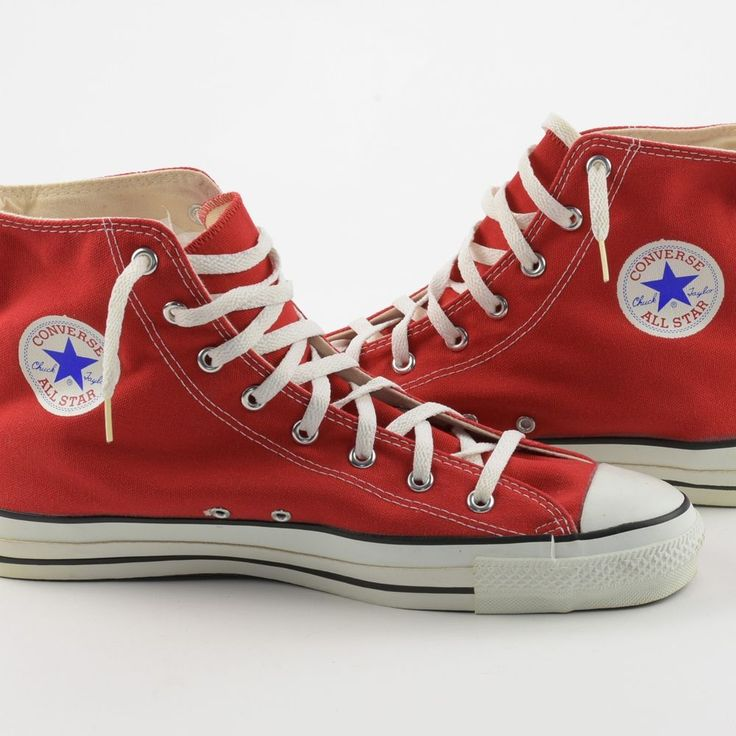 Converse Chuck Taylor All-Stars Shoes 13.5 Vintage NWOT Red USA High Top Sneaker #Converse #Basketball #shoes #madeinusa #chucktaylor #itisvintage #allstars #chucks