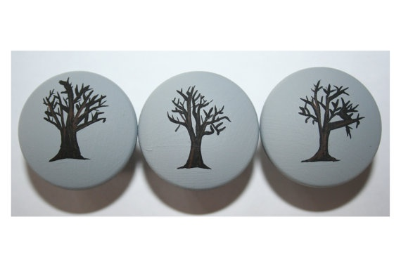 Gray with Black Tree Knobs: Black Trees, Gifts, Baby Rooms, Gray, Trees Knobs
