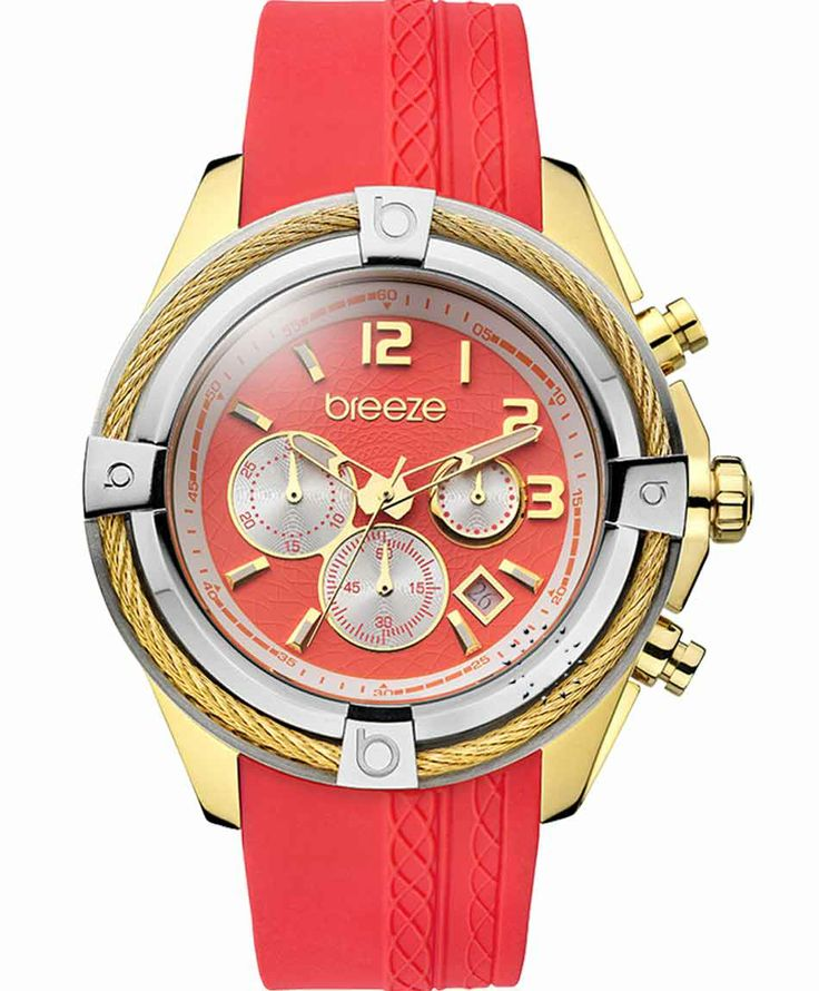 BREEZE Flirtini Gold Chrono Red Rubber Strap Μοντέλο: 110211.5 Τιμή: 190€ http://www.oroloi.gr/product_info.php?products_id=38082