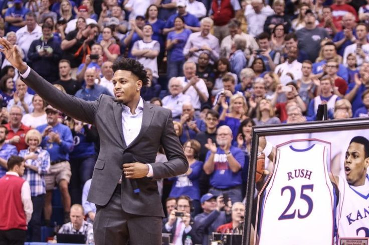 Kansas Jayhawk Brandon Rush #25 (2006-2008) 2/22/17 Jersey retirement at Allen Fieldhouse during halftime of KU's win over TCU to clinch the 13th Straight Big 12 Season Championship.