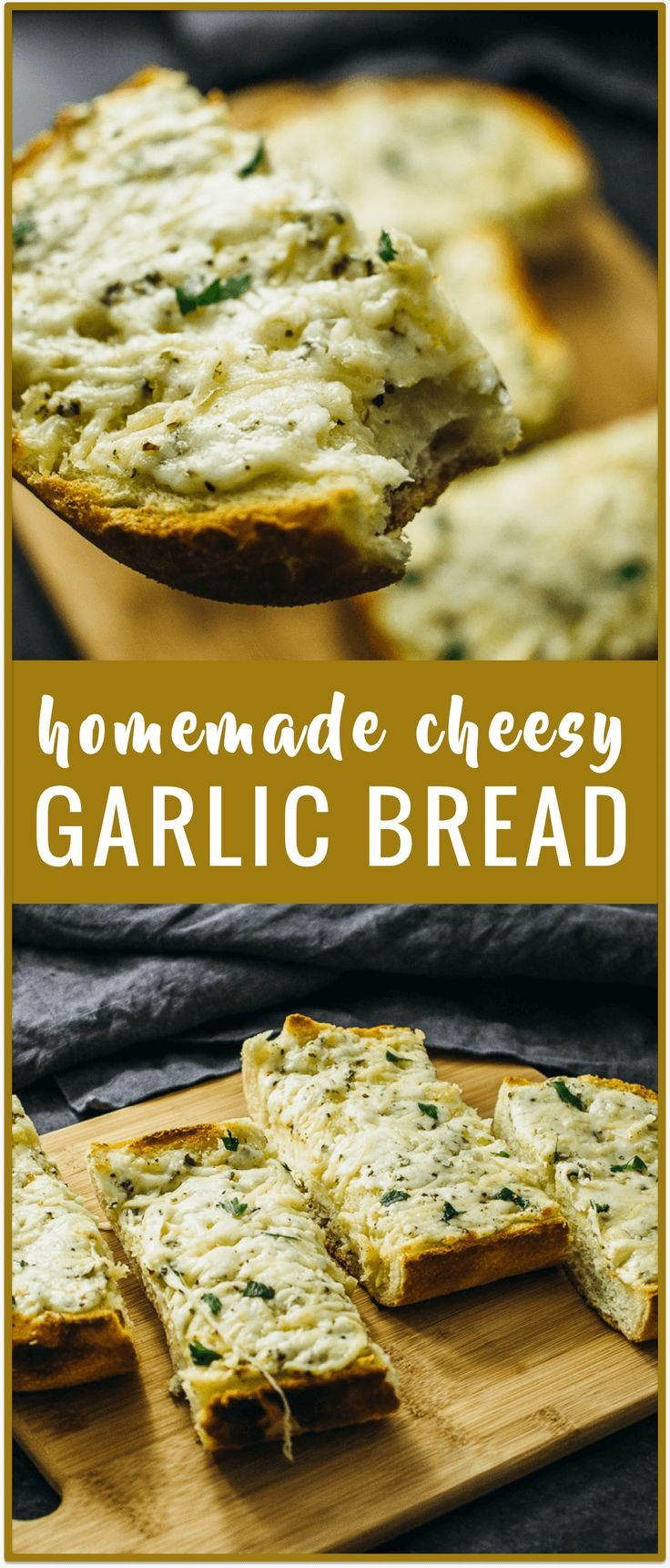 Cheesy oven-baked garlic bread - Make your own garlic bread at home with this simple recipe. All you need is a loaf of Italian bread, garlic cloves, butter, and lots of cheese. via @savory_tooth