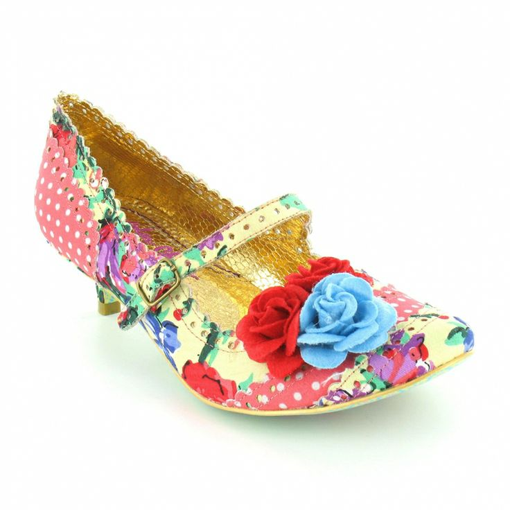 Irregular Choice Daisy Dayz 2654-64F Womens Floral Kitten Heel Mary Jane Court Shoes in Pink Multi Coloured Fabric at Scorpio Shoes. £69.99