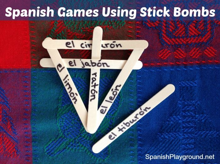 Spanish games with words written on craft sticks. Kids sort the Spanish words to build stick bombs. A great hands-on way to work with vocabulary!