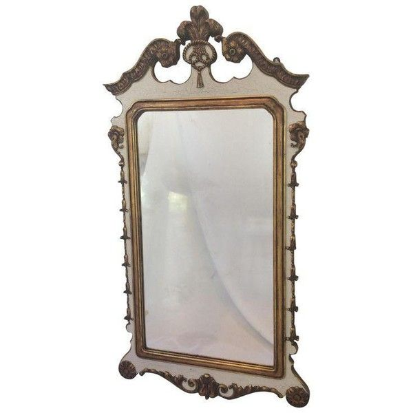 Carved and Partial Gilt Mirror by Berkey & Gay ($395) ❤ liked on Polyvore featuring home, home decor, mirrors, wall mirrors, vintage wall mirror, white vintage mirror, gold wall mirror, white wall mirror and vintage home accessories