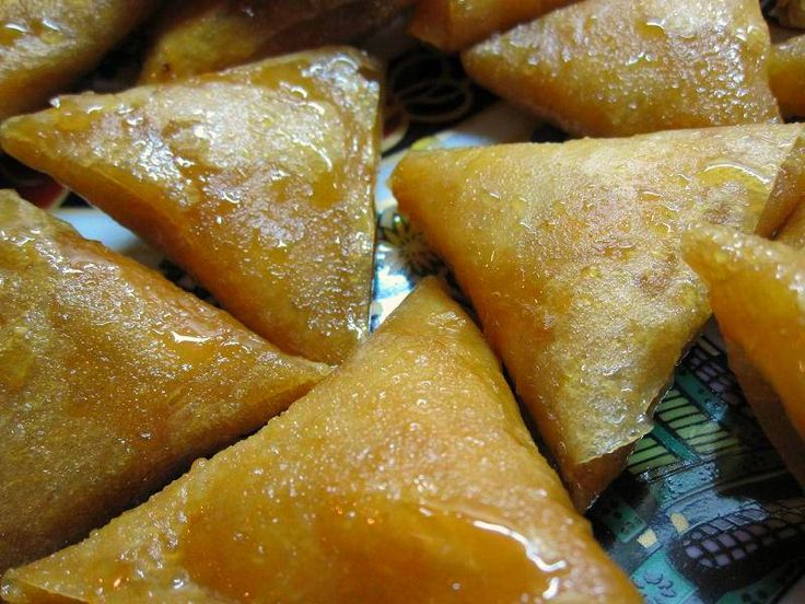 Almond Briouats. Dessert of almond paste flavored with orange blossom water, fried, and soaked in honey.