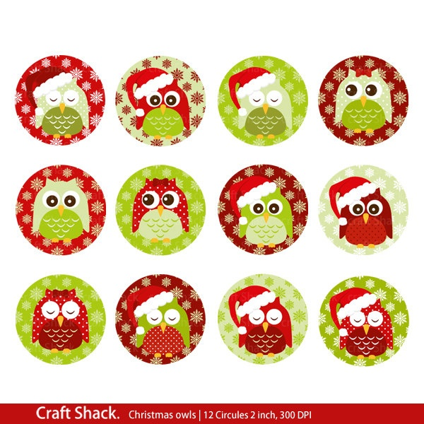 Christmas owls Cupcake toppers/tags