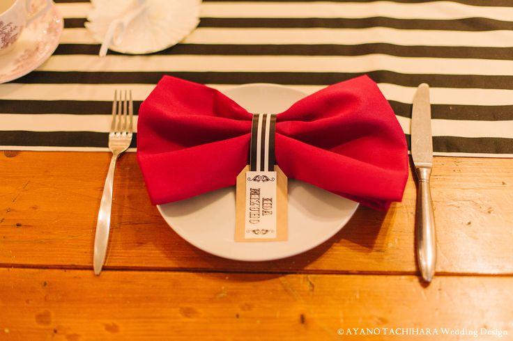 リボン風のテーブルナプキン