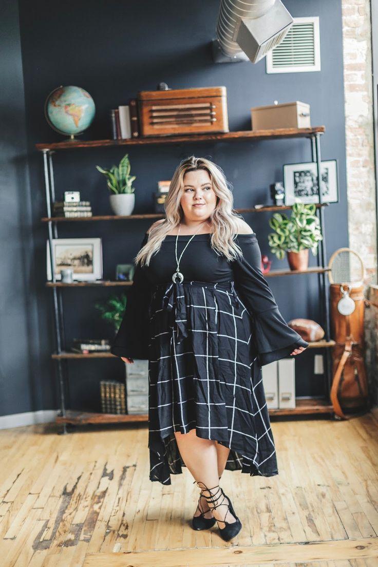 Chicago Plus Size Fashion Blogger Natalie Craig reviews Fashion to Figure's Uptown Knit Blouse and Blair Plaid Hi-Lo Skirt.