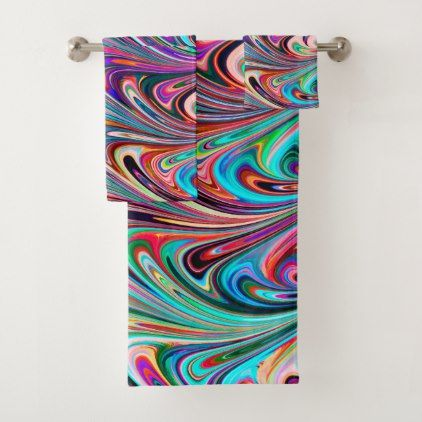 Multicolored Jewel Tones Abstract Marbled Swirls Bath Towel Set - diy cyo customize create your own personalize