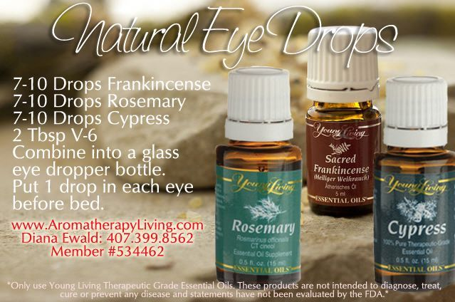 Clear Vision with Natural Eye Drops - need to look into this more. I didn't think you were suppose to get oils in your eyes