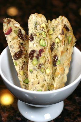 Biscotti with cranberries, pistachios & chocolate. Makes enough for gifts.