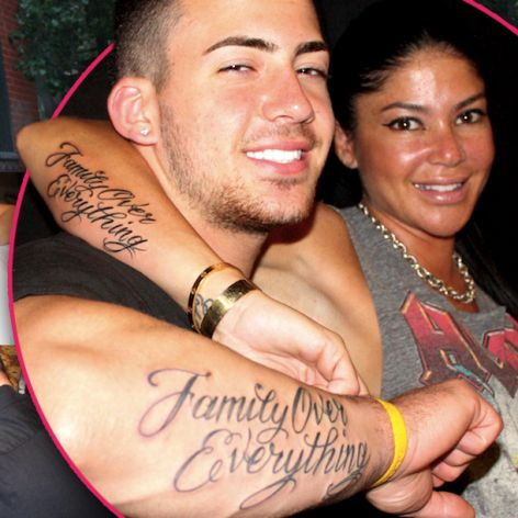 "Luke Wessman Tattoos Mob Wife and son in NY Alicia ""Family Over Everything"" tattoo"