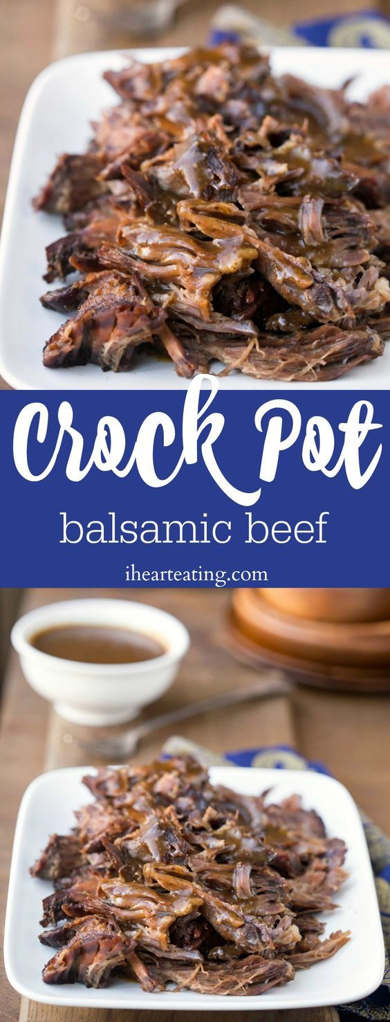 Crockpot Balsamic Beef recipe - the beef doesn't have a vinegar flavor, but it is some of the most tender and juicy beef ever.