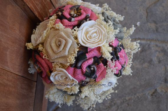 Pink Camo Burlap Bouquet, Pink Camo Bouquet, Browning Wedding, Hunting Wedding