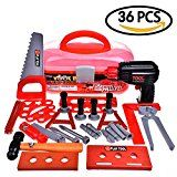 Fun Little Toys Construction Tool Box  Childrens Educational Pretend Role Play Set  Hammer Wrench Power Tools Electric Drill (Batteries Included) 36pcs