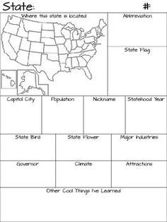 Info sheet for students to pick a state and fill in the information.