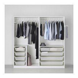 PAX Wardrobe, white, Fardal high-gloss light grey - 200x60x201 cm - soft closing hinge - IKEA